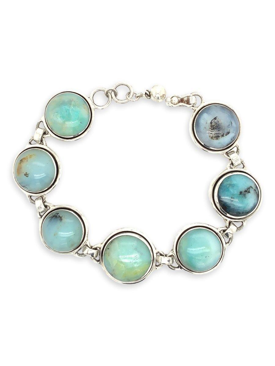 Peruvian Blue Opal Oval Links Bracelet in Sterling Silver