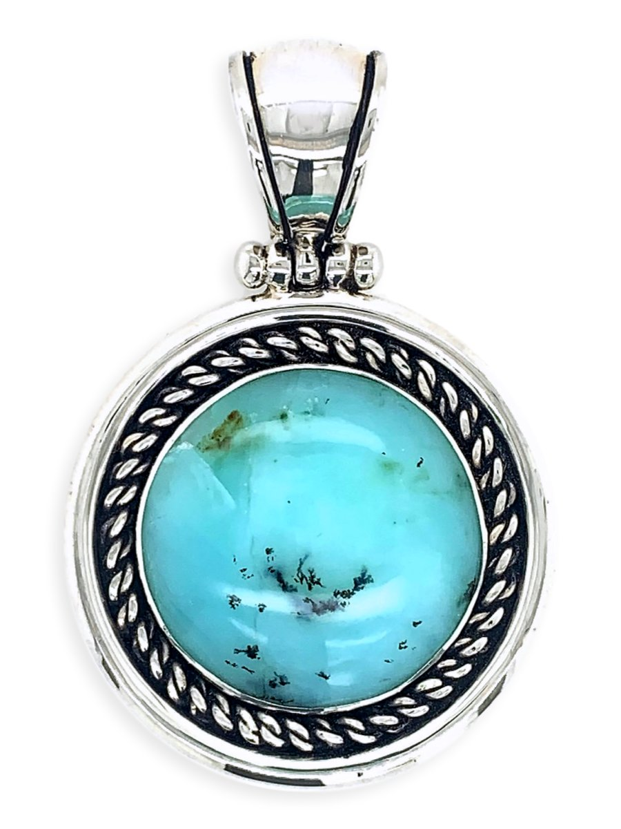 Sterling Silver & Peruvian Blue Opal Circle Pendant with Rope Detail - One of a Kind