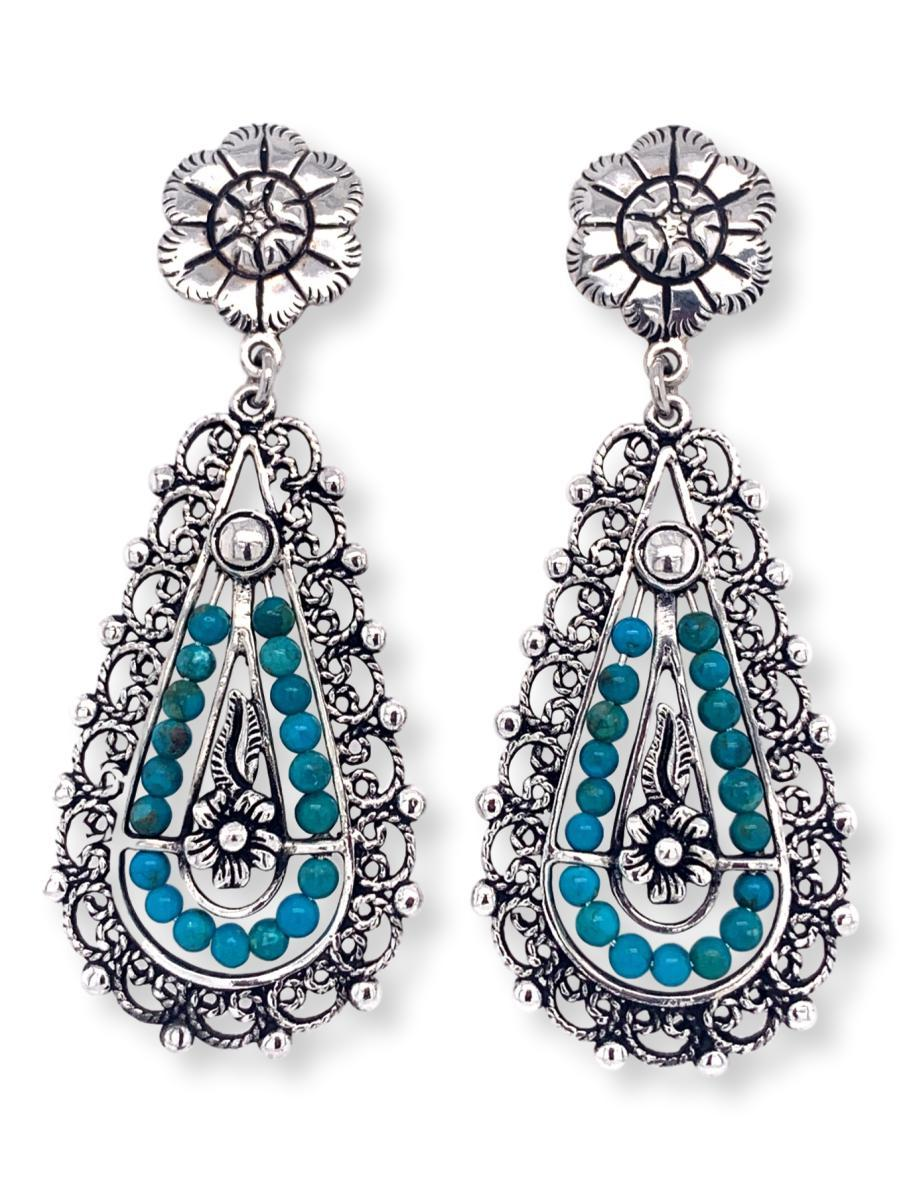 Filigree Teardrop Earrings in Sterling Silver and Chrysocolla - Qinti - The Peruvian Shop