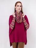 Women's Poncho Sweater with Sleeves Long in Bright Pink
