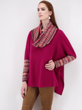 Women's Poncho Sweater with Long Sleeves in Bright Pink Peru