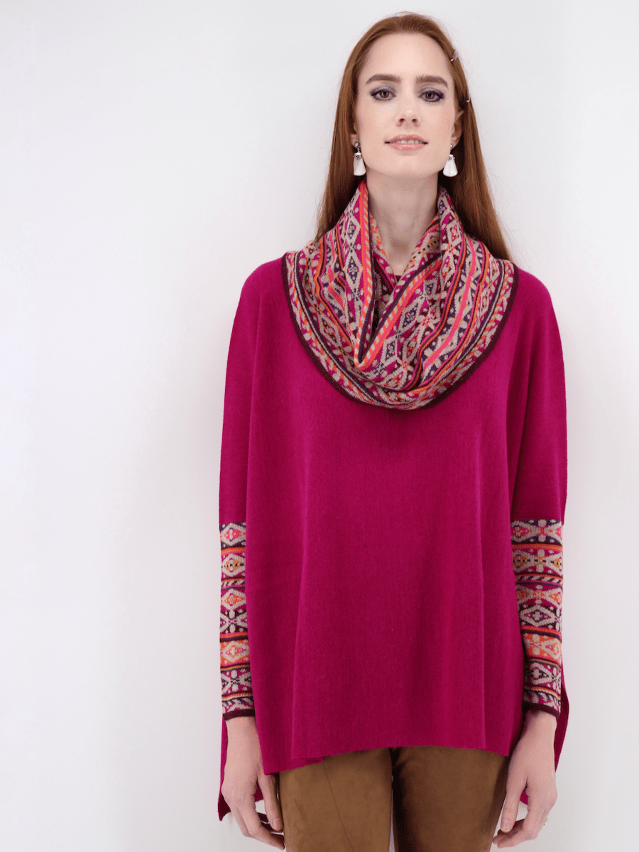 Women's Poncho Sweater with Sleeves in Bright Pink - Qinti - The Peruvian Shop