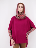 Women's Poncho Sweater with Hood in Bright Pink