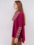 Women's Poncho Sweater with Long Accent Sleeves in Bright Pink