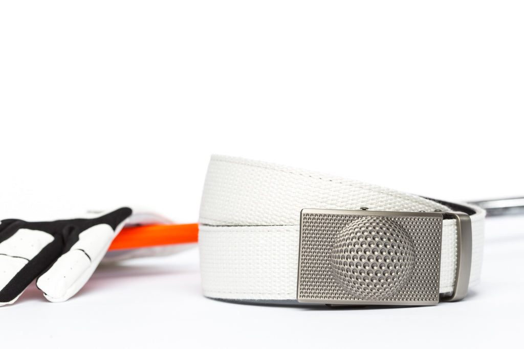 "White Canvas w/Anson Golf Buckle in Gunmetal (1.5"")"