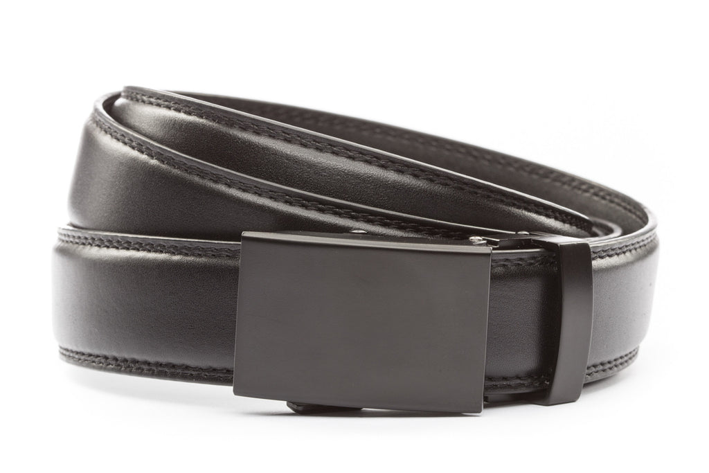 "Black Formal Leather w/Classic in Black Buckle (1.25"")"
