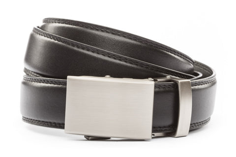 "Black Formal Leather w/Classic in Gunmetal Buckle (1.25"") - Anson Belt & Buckle"