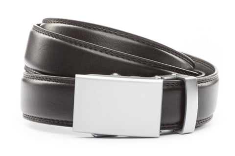 "Black Formal Leather w/Classic in Silver Buckle (1.25"")"