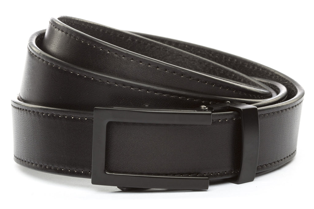 "Black Vegetable Tanned Leather w/Traditional in Black Buckle (1.25"")"