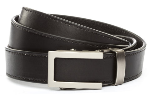 "Black Vegetable Tanned Leather w/Traditional in Gunmetal Buckle (1.25"") - Anson Belt & Buckle"