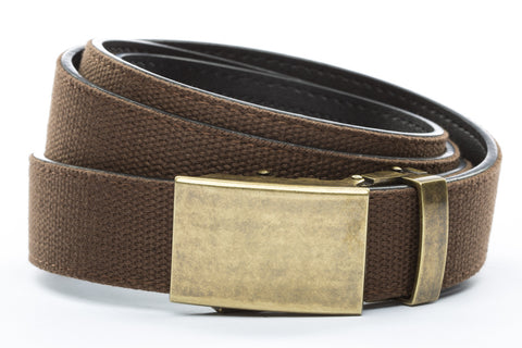 1-25-quot-classic-buckle-in-antiqued-gold 1-25-quot-brown-canvas-strap