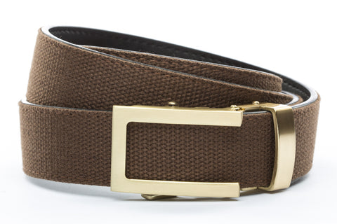 1-25-quot-traditional-buckle-in-gold 1-25-quot-brown-canvas-strap