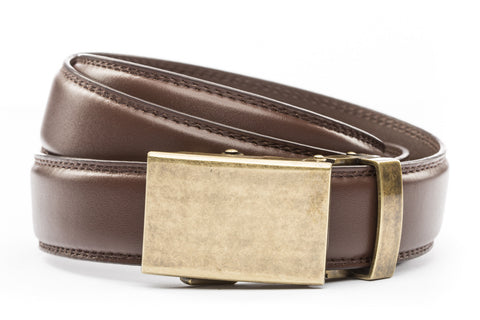 1-25-quot-classic-buckle-in-antiqued-gold 1-25-quot-chocolate-leather-strap