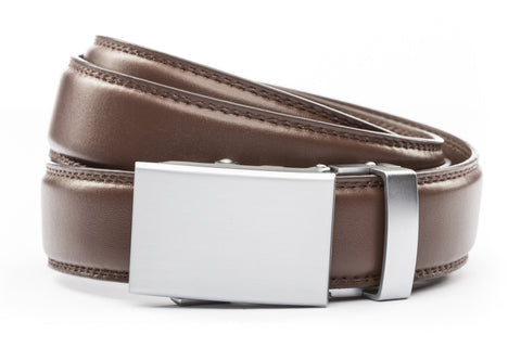"Chocolate Formal Leather w/Classic in Silver Buckle (1.25"")"