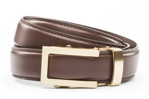 1-25-quot-traditional-buckle-in-gold 1-25-quot-chocolate-leather-strap