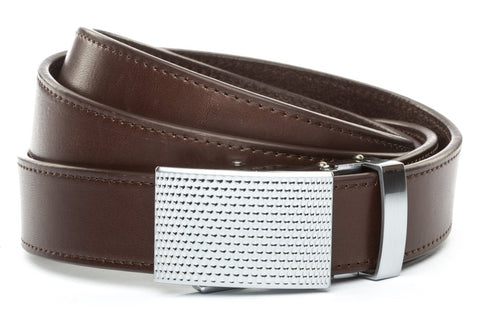1-25-quot-anson-golf-buckle-in-silver 1-25-quot-chocolate-vegetable-tanned-leather-strap