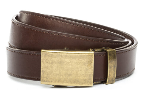 1-25-quot-classic-buckle-in-antiqued-gold 1-25-quot-chocolate-vegetable-tanned-leather-strap