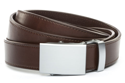 1-25-quot-classic-buckle-in-silver 1-25-quot-chocolate-vegetable-tanned-leather-strap