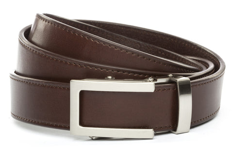 1-25-quot-traditional-buckle-in-silver 1-25-quot-chocolate-vegetable-tanned-leather-strap