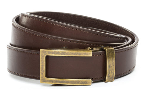 1-25-quot-traditional-buckle-in-antiqued-gold 1-25-quot-chocolate-vegetable-tanned-leather-strap