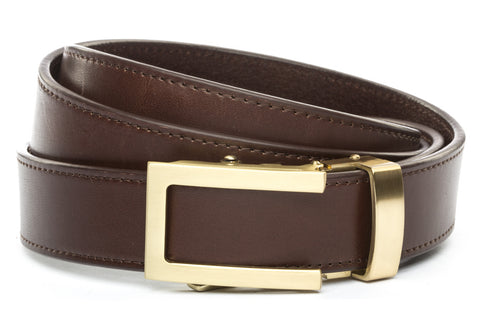 1-25-quot-traditional-buckle-in-gold 1-25-quot-chocolate-vegetable-tanned-leather-strap