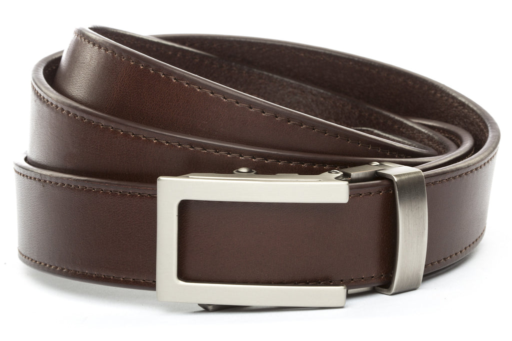 "Chocolate Vegetable Tanned Leather w/Traditional in Gunmetal Buckle (1.25"")"