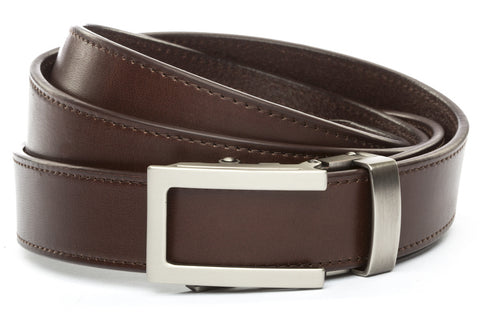 303da49aa Chocolate Vegetable Tanned Leather w/Traditional in Gunmetal Buckle (1.25