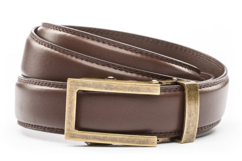 1-25-quot-traditional-buckle-in-antiqued-gold 1-25-quot-chocolate-leather-strap