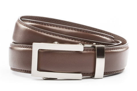 1-25-quot-traditional-buckle-in-silver 1-25-quot-chocolate-leather-strap