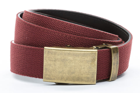 1-25-quot-classic-buckle-in-antiqued-gold 1-25-quot-crimson-canvas-strap