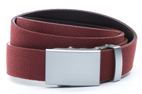 1-25-quot-classic-buckle-in-silver 1-25-quot-crimson-canvas-strap