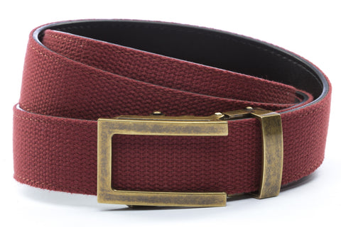 1-25-quot-traditional-buckle-in-antiqued-gold 1-25-quot-crimson-canvas-strap