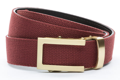 1-25-quot-traditional-buckle-in-gold 1-25-quot-crimson-canvas-strap