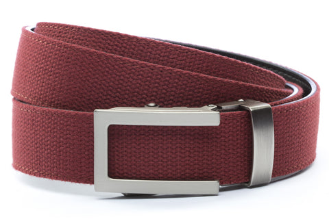 1-25-quot-traditional-buckle-in-gunmetal 1-25-quot-crimson-canvas-strap