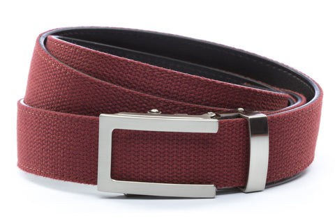 1-25-quot-traditional-buckle-in-silver 1-25-quot-crimson-canvas-strap