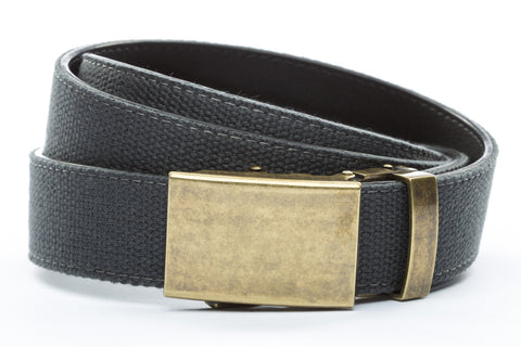 1-25-quot-classic-buckle-in-antiqued-gold 1-25-quot-graphite-canvas-strap