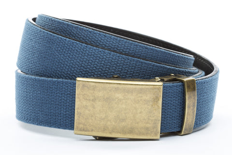 1-25-quot-classic-buckle-in-antiqued-gold 1-25-quot-marine-blue-canvas-strap