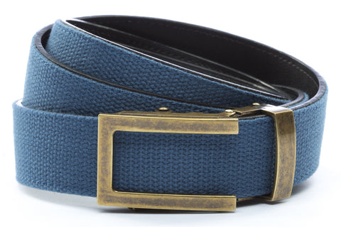 1-25-quot-traditional-buckle-in-antiqued-gold 1-25-quot-marine-blue-canvas-strap