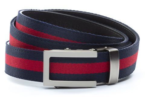 "Navy w/Red Stripe with Traditional in Gunmetal Buckle (1.25"") - Anson Belt & Buckle"