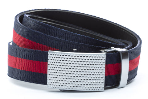 1-25-quot-anson-golf-buckle-in-silver 1-25-quot-navy-red-stripe-cloth-strap