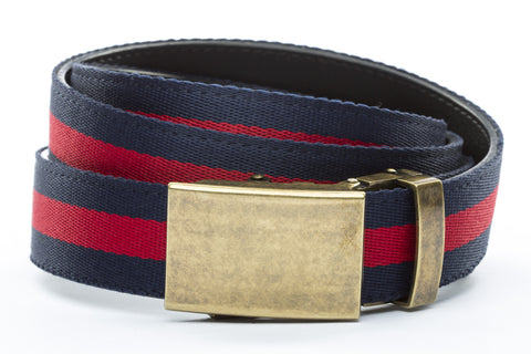 1-25-quot-classic-buckle-in-antiqued-gold 1-25-quot-navy-red-stripe-cloth-strap