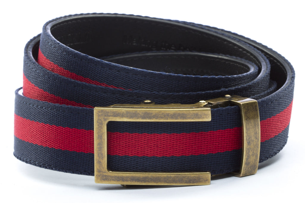 "Navy w/Red Stripe with Traditional in Antiqued Gold Buckle (1.25"")"
