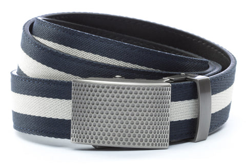 1-25-quot-anson-golf-buckle-in-gunmetal 1-25-quot-navy-white-stripe-cloth-strap