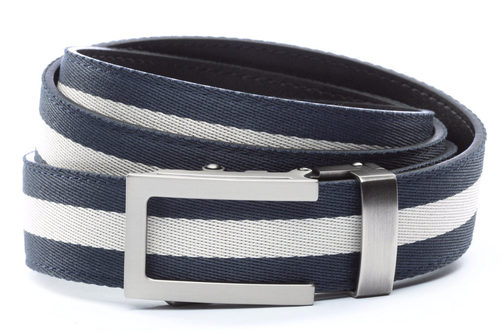 "Navy w/White Stripe with Traditional in Gunmetal Buckle (1.25"")"