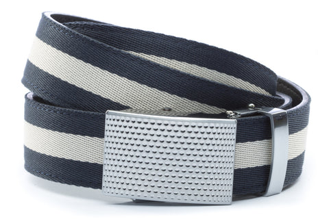 1-25-quot-anson-golf-buckle-in-silver 1-25-quot-navy-white-stripe-cloth-strap