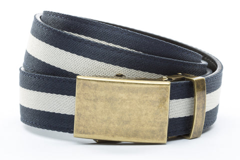 1-25-quot-classic-buckle-in-antiqued-gold 1-25-quot-navy-white-stripe-cloth-strap