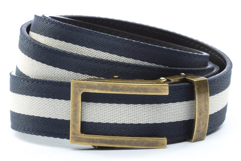 1-25-quot-traditional-buckle-in-antiqued-gold 1-25-quot-navy-white-stripe-cloth-strap