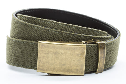 1-25-quot-classic-buckle-in-antiqued-gold 1-25-quot-olive-drab-canvas-strap