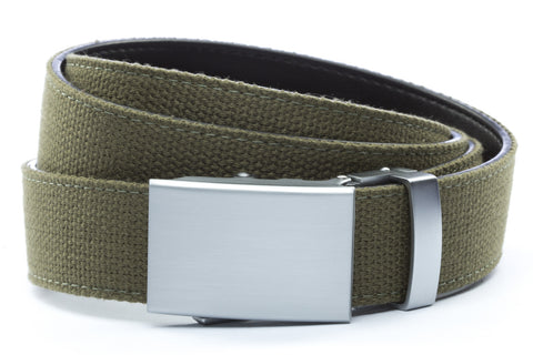1-25-quot-classic-buckle-in-silver 1-25-quot-olive-drab-canvas-strap