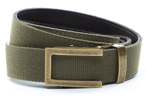 1-25-quot-traditional-buckle-in-antiqued-gold 1-25-quot-olive-drab-canvas-strap